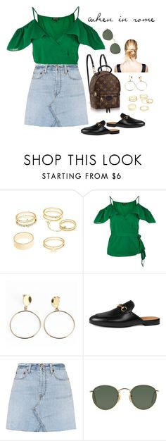 """""""Sin título #334"""" by manuelacabeza on Polyvore featuring moda, Louis Vuitton, Charlotte Russe, Topshop, Gucci, RE/DONE y Ray-Ban"""