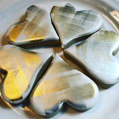 Metallic plaid #houston #decoratedcookies #heartcookies #paintedcookies #sugarpiecustomcookies