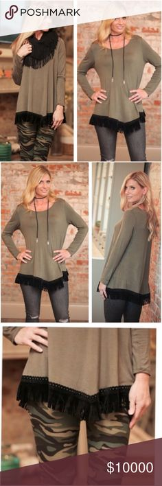 Just Arrived! Olive Tunic with Black Fringe Silky smooth Olive Tunic top with black faux suede fringe trim that lines the hem in a very slight v shape. Long sleeves, extremely comfortable and flattering for all figures. I own one of these already and am so exciting to be adding this amazing piece to my Boutique! Looks perfect with leggings or skinnies with boots. Tops Tunics