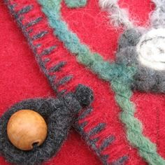 Uses for Felted Sweaters | Felted Flower Pouch, Bag From Recycled Sweater Wool Felt - Red