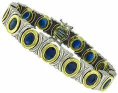 22.50ct Sapphire Two Tone Gold Bracelet Photo 1