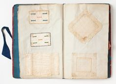Sampler book made by Ellen Mahon between 1852 & 1854, showing off embroidery skills, doll clothes, knitted glove, etc.  The work is Irish and possibly made under the tutelage of the Boyle family, pioneer teachers