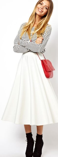 Full midi skirt + a striped top + a pop of red. love!