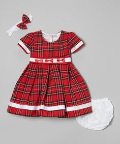 Loving this Red Plaid Bow Dress Set - Infant on #zulily! #zulilyfinds DEFINITELY getting my lil butterball kynsie these outfits!!