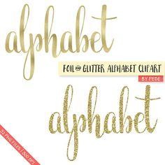 Gold foil & glitter alphabet by Patrycja Dolata on @creativemarket