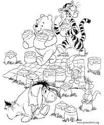 Winnie the Pooh and Friends Fall Coloring Page Halloween