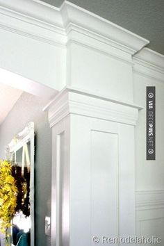 Entryway Faux Columns with moldings
