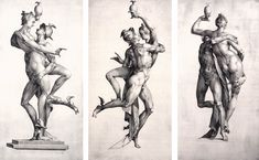 Jan Harmensz. Muller (1571–1628) | Mercury and Psyche, viewed from three sides. Date: between 1594 and 1595