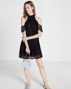 cold shoulder lace trapeze dress