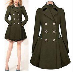 Moderní dámský podzimní kabátek s knoflíky - Velikost L Dámské Kabáty e5ed243de89