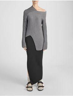 Wool Cardigan Stitch Asymmetric  Sweater