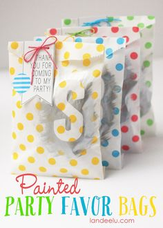 DIY Painted Party Favor Bags Idea - so easy and fun for kids birthday parties and celebrations!