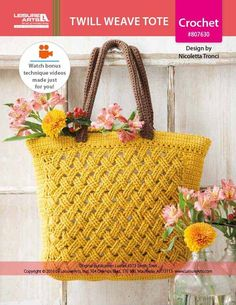 Twill Weave Tote Crochet ePattern - A beautiful lattice pattern dresses up the Twill Weave Tote to crochet by Italian designer Nicoletta Tronci of NTmaglia Crochet Design. Finished size is 18 x 13 inches (45.5 x 33 cm), excluding handles.  Supplies needed are medium weight yarn, a size 7 (4.5 mm) crochet hook, and miscellaneous additional supplies. The photo model was made using Garnstudio Drops Paris 100 percent cotton yarn in #41 Mustard and #44 Brown.  Instructions are for Intermediate…