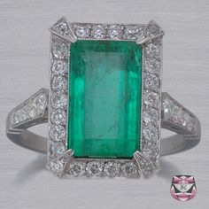 Art Deco Emerald Ring. Visit Renaissance Fine Jewelry in Vermont or at www.vermontjewel.com