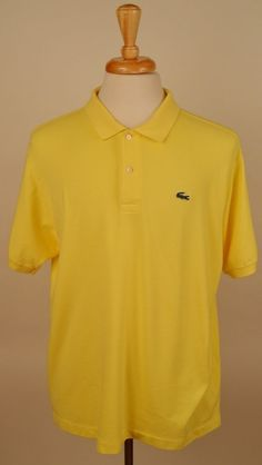 Lacoste mens short sleeve 100% cotton solid yellow 7-XL  polo shirt Pre-Owned #Lacoste #PoloRugby