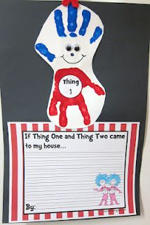 Dr Seuss - Thing 1 and Thing 2 craft and writing template - downloadable