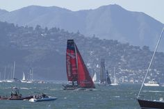 American's Cup Races on San Francisco Bay with Mt Tamalpais in the background.