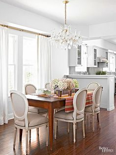 DIY Dining Chair Makeover Like the divider between the two rooms with cabinets.