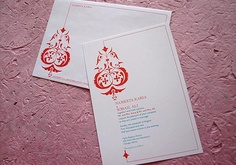 Casablanca invitations - red and blue