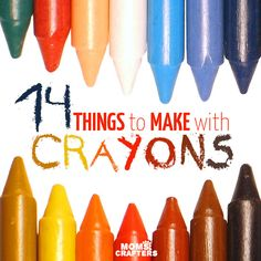 Look what you can make with crayons! Check out this amazing list of things to make with crayons! You can upcycle old crayon pieces or turn whole crayons into fun DIY projects, crafts, and recipes for play. Includes ideas for kids, teens, and adults. Crafts For Teens To Make, Fun Diy Crafts, Cool Diy Projects, Arts And Crafts, Craft Projects For Adults, Kids Diy, Kids Crafts, Popsicle Stick Crafts, Crayon Art