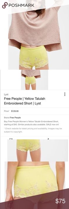 🐸HP Free People yellow Talulah embroidered shorts NWT Free people yellow Talulah Embroidered shorts. Size XS. Free People Shorts