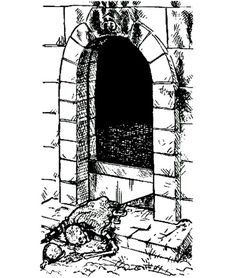 "Level 1: ""A sprung guillotine trap partially blocks the entrance."" (Roger Raupp from ""Secrets of the Towers"" by Larry Church, Dungeon magazine No 10, TSR, March/April 1988)"