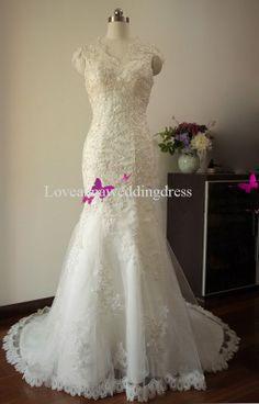 Elegant Mermaid Cap Sleeves Beaded Lace Wedding by Loveweddinganna, $349.00