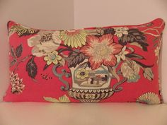 Coral Linen Lumbar Pillow Cover Asian Pillow by thehappyseamstress