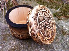 "Small (3"" diameter) paulownia wood trinket box. Hand-drawn, hand-burned. Pyrography by Greenwood Creations."