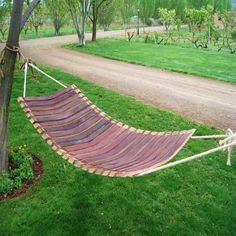 Made from oak wine barrel staves, this original hammock is a perfect decorative piece for indoors or gardens. Wine Barrel Chairs, Whiskey Barrel Furniture, Wine Barrels, Dump Furniture, Furniture Sale, Furniture Ideas, Barrel Projects, Wood Projects, Barris