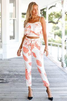 Orange Mottled Print Flounce Crop Top and Pant Set MB62056-14 – ModeShe.com