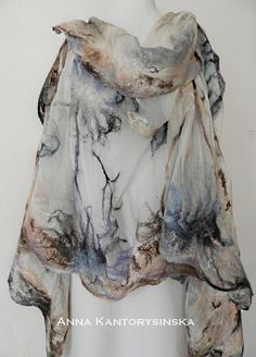 Nuno fieltro abrigo chal seda bufanda congelado por kantorysinska