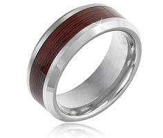 $19.99 8mm Men's Tungsten Ring With Wood Inlay Design