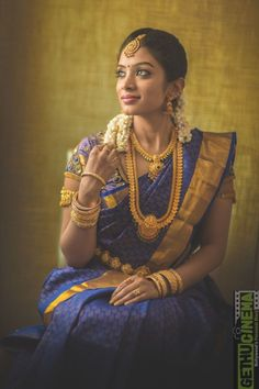 South Indian Bride Looking Stunning in a Royal Blue Kanchipuram Silk Saree South Indian Bridal Jewellery, Indian Bridal Sarees, South Indian Sarees, Bridal Silk Saree, Wedding Sarees, Indian Jewelry, Kanchipuram Saree Wedding, Tamil Wedding, Indian Silk Sarees