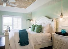 This is one of my favorite paint colors; Palladian Blue HC-144 Benjamin Moore. This chameleon color (sometimes green, sometimes blue) is perfect for coastal interiors.  Master Ceiling: Phillip Jeffries Raffia Collection.