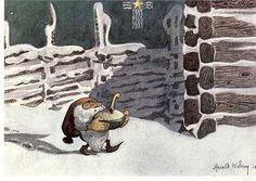 Sweden New Year Christmas God Jul Gott Nytt Ar Gnome Dwarf Tomte Santa Elf artist signed Harald WIBERG posted 1989 Christmas Tale, Swedish Christmas, Christmas Illustration, Illustration Art, Illustrator, Baumgarten, Troll, Faeries, Fairy Tales