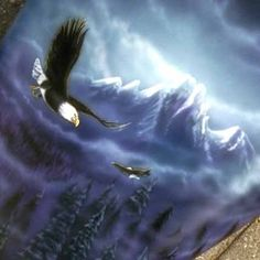 """Custom paint / Airbrush by Michael Quarz. Acrylics on a motorcycle gas tank. """"Eagle"""""""