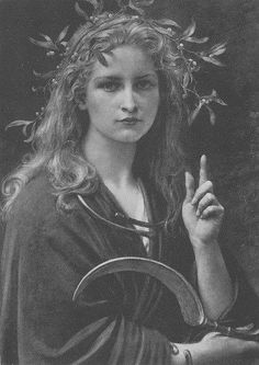 Druid priestess with sickle and mistletoe.