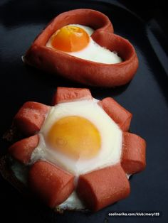 hot dog egg shapes (ive done this for bento just cook the eggs to over hard)