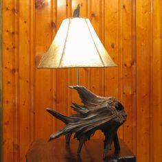 Stump Table Lamp  Cedar Driftwood Root Lamp by MissouriNatureArt, $189.00
