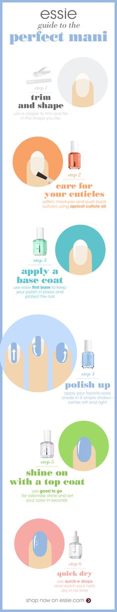 Get the perfect mani in only a few simple steps with these nail essentials. First use a clipper to trim and file in the shape you want. Soften, moisturize and push back cuticles using 'apricot cuticle oil'. Then apply essie 'first base' base coat to keep your polish in place and protect the nail. After that, apply your favorite essie nail polish in 3 simple strokes! Top off your mani with 'good to go' top coat. In a rush? Use 'quick-e drops' to set your mani super fast.