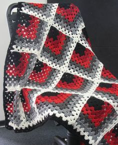 """Striking color combination on this """"Mitered Square Afghan""""!"""