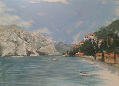 Painted in acrylics from the beach at Melcisine, Lake Garda, using lake water
