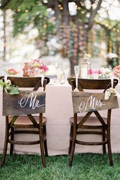 DIY Wedding Table Decoration Ideas- instead have Mr. Right and Mrs. Always Right - Bride n Groom Wedding Chairs - Click Pic for 46 Easy DIY Wedding Decorations Wedding Chair Signs, Wedding Chairs, Wedding Letters, Wedding Furniture, Wedding Tables, Vintage Furniture, Perfect Wedding, Our Wedding, Dream Wedding