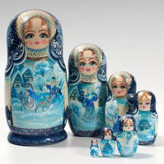 7-pc Gzhel Style Nesting Doll matryshka ukrainian father frost  snow maiden. matryoshka