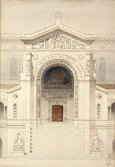 [Hospice]Ruy, Joseph-Alphonse 1880 Dessin scolaire d'architecture