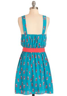 Look at Mew! Dress. Slipping into your pals party unnoticed is nearly impossible when youre wearing this too-cute turquoise dress! #blue #modcloth