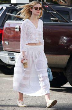 elle fanning all white street style