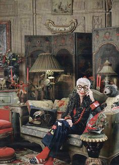 What...Minnie Mouse jeans and flag slippers!!! Iris Apfel, fashionista not afraid to over-do, extravagantly and with humor   Actually she's just nuts