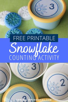 Looking for winter math activities for your kids? Try these snowflake number circles. Use the free math printables in muffin tins or use them to make counting containers. Many ideas are included for counting, number sense, and even basic addition. Perfect for your winter math centers or math work stations in preschool, pre-k, and kindergarten. A great addition to your snow theme, snowman theme, winter theme unit and lesson plans. Snow Theme, Winter Theme, Counting Activities, Science Activities, Preschool Classroom, Kindergarten, Math Work, Work Stations, Free Math